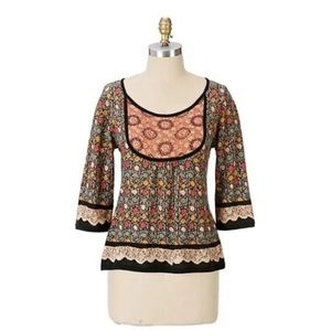 Anthro Guinevere Touch Up Floral Sweater. Small.